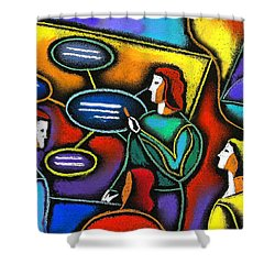 Shower Curtain featuring the painting Manager  by Leon Zernitsky