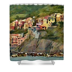 Shower Curtain featuring the painting Manarola by Jeff Kolker