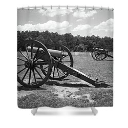 Shower Curtain featuring the photograph Manassas Battlefield 2 Bw by Frank Romeo