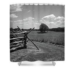 Shower Curtain featuring the photograph Manassas Battlefield Bw by Frank Romeo