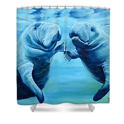 Manatees Socializing Shower Curtain