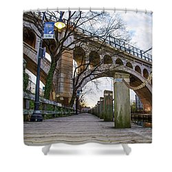 Manayunk - Towpath And Bridge Shower Curtain by Bill Cannon
