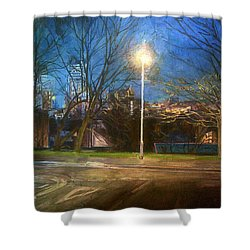 Manchester Street With Light And Trees Shower Curtain