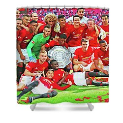 Manchester United Celebrates Shower Curtain by Don Kuing