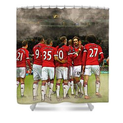 Manchester United  In Action  Shower Curtain by Don Kuing