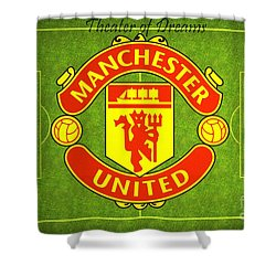 Manchester United Theater Of Dreams Large Canvas Art, Canvas Print, Large Art, Large Wall Decor Shower Curtain by David Millenheft