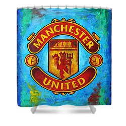 Manchester United Vintage Shower Curtain by Dan Haraga
