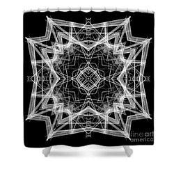 Shower Curtain featuring the digital art Mandala 3354b In Black And White by Rafael Salazar