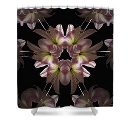 Shower Curtain featuring the digital art Mandala Amarylis by Nancy Griswold