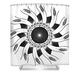 Shower Curtain featuring the digital art Mandala Black And White by Linda Lees
