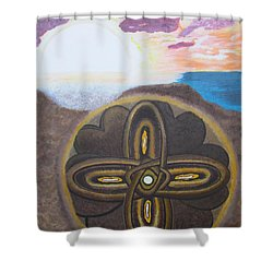Shower Curtain featuring the painting Mandala In The Sand by Cheryl Bailey