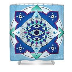Mandala Of The Seven Eyes Shower Curtain by Bedros Awak