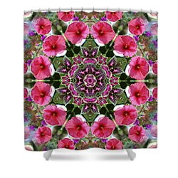 Shower Curtain featuring the digital art Mandala Pink Patron by Nancy Griswold