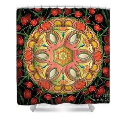 Mandala Tulipa Shower Curtain by Bedros Awak