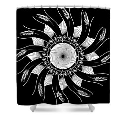 Shower Curtain featuring the digital art Mandala White And Black by Linda Lees