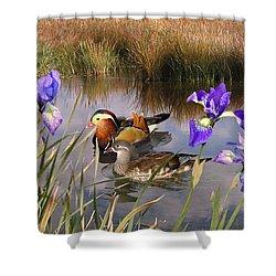 Mandarin Ducks And Wild Iris Shower Curtain