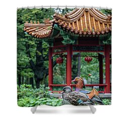 Mandarin Ducks At Pavilion Shower Curtain