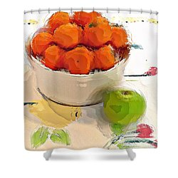 Mandarin With Apple Shower Curtain by Alexis Rotella
