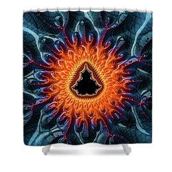 Shower Curtain featuring the digital art Mandelbrot Fractal Orange And Dark Blue by Matthias Hauser