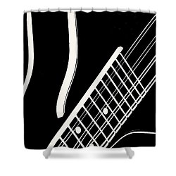 Shower Curtain featuring the digital art Mandolin Close Bw by Jana Russon