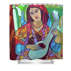 Shower Curtain featuring the painting Mandolin-eight Strings by Denise Weaver Ross