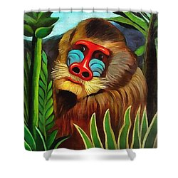 Mandrill In The Jungle Shower Curtain by Henri Rousseau