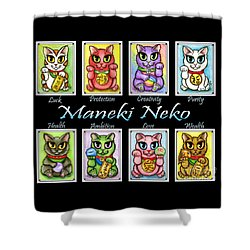 Maneki Neko Luck Cats Shower Curtain