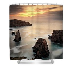 Shower Curtain featuring the photograph Mangersta Sea Stacks by Grant Glendinning