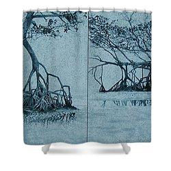 Mangroves Shower Curtain by Leah  Tomaino