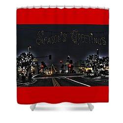 Manhattan Beach Christmas Shower Curtain