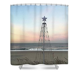 Shower Curtain featuring the photograph Manhattan Beach Christmas Star by Art Block Collections