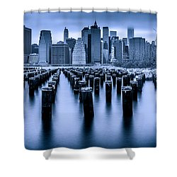Shower Curtain featuring the photograph Manhattan Blues by Chris Lord