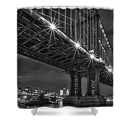 Manhattan Bridge Frames The Brooklyn Bridge Shower Curtain