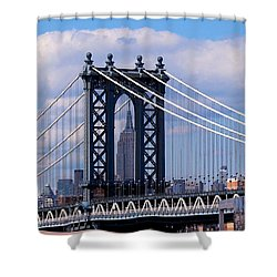 Manhattan Bridge Framing The Empire State Building Shower Curtain