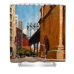 Manhattan Bridge From  Front Street, Brooklyn Shower Curtain