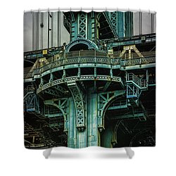 Shower Curtain featuring the photograph Manhattan Bridge Tower by Chris Lord