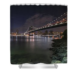 Manhattan Bridge Twinkles At Dusk Shower Curtain