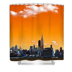 Shower Curtain featuring the photograph Manhattan Days Pop Art by John Rizzuto