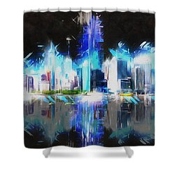Shower Curtain featuring the painting Manhattan Downtown Lights by Kai Saarto