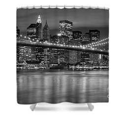 Manhattan Night Skyline Iv Shower Curtain