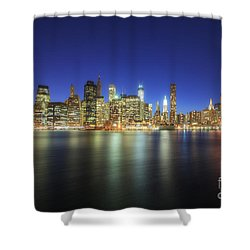 Manhattan Nite Lites Nyc Shower Curtain by Yhun Suarez