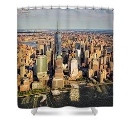 Manhattan Nyc Aerial View Shower Curtain by Susan Candelario