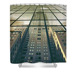 Shower Curtain featuring the photograph Manhattan Reflected by Jessica Jenney