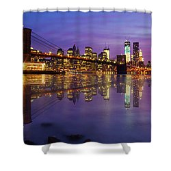 Shower Curtain featuring the photograph Manhattan Reflection by Mircea Costina Photography