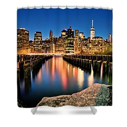Manhattan Skyline At Dusk Shower Curtain