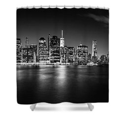 Manhattan Skyline At Night Shower Curtain by Az Jackson