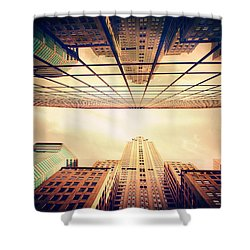 Shower Curtain featuring the photograph Manhattan Skyline Reflections by Jessica Jenney