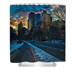 Manhattan Sunset Shower Curtain by Chris Lord