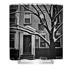 Manhattan Town House Shower Curtain by Joan Reese