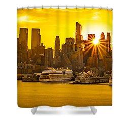 Manhattan's Ports At Sunrise Shower Curtain